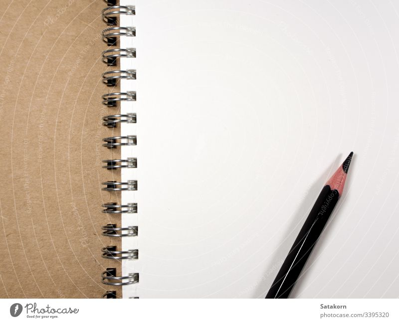 White paper page of Note Book and Pencil note book blank white notebook stationary pencil open background design clean empty spiral notepad memo education