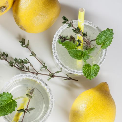 two glasses of lemonade with thyme, lemon balm and sugar rim Organic produce vitamin water aromatic water Fresh infuse Glass Cold drink Lemonade Drinking water