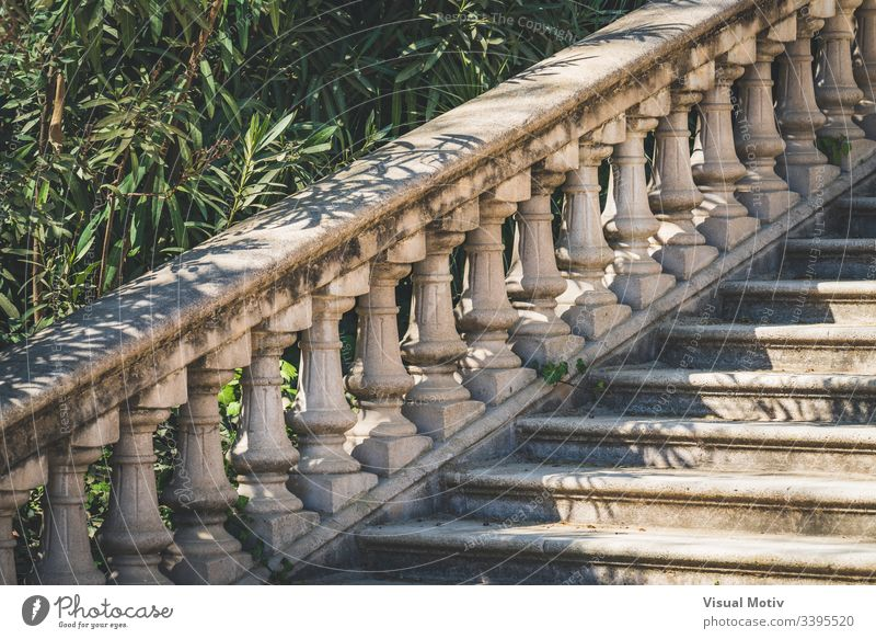 Stone balustrade in neoclassical style color stairs architecture architectural architectonic abstract outdoor exterior outdoors stone neoclassical balustrade