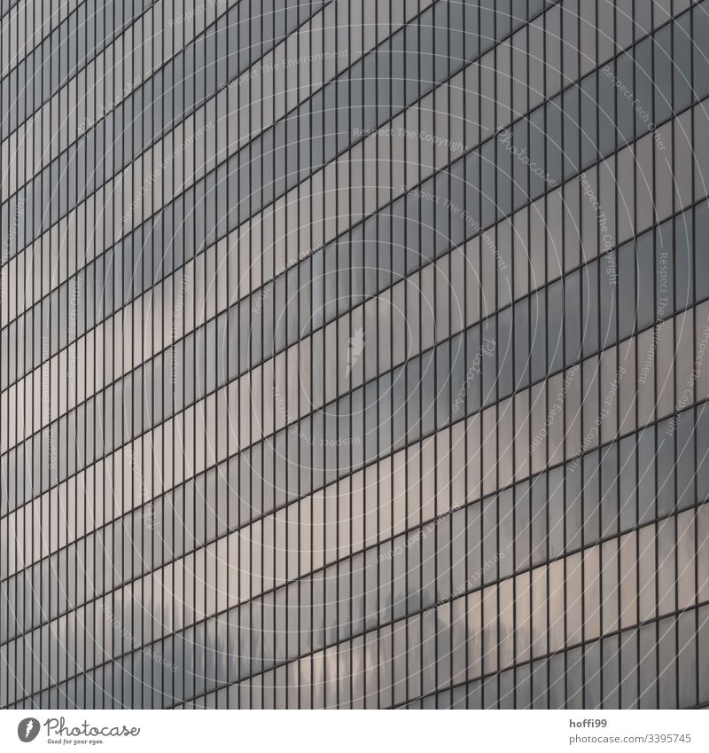 abstract facade with reflecting windows High-rise Bank building Window Facade Building Esthetic Symmetry Surrealism Abstract Light Stagnating Pure