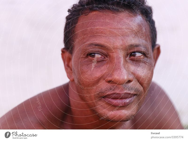 man resting II , trinidad cigar adult smile naked chest native cuban smoking adulthood cute leather skin people portrait caribbean island street lifestyle
