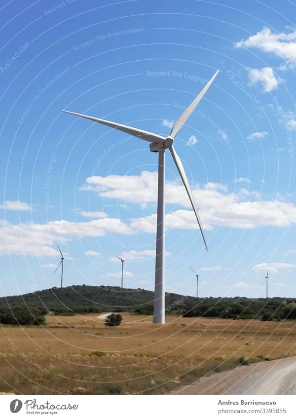 Wind generators on the mountain with blue sky Industrial Environment Powerful Conserve concept Clear Picturesque turbine Rural Supply windy ring Electric