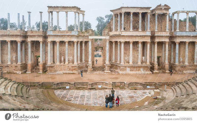 Amazing old Roman theatre in Merida, Spain spain heritage unesco landmark merida theater roman architecture culture travel ancient ruin stage europe tourism