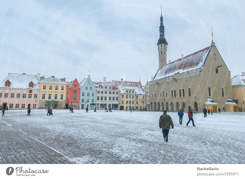 Medieval Town Hall Square of Tallinn during winter, Estonia tallinn estonia town hall square city snow people capital old medieval travel europe building street