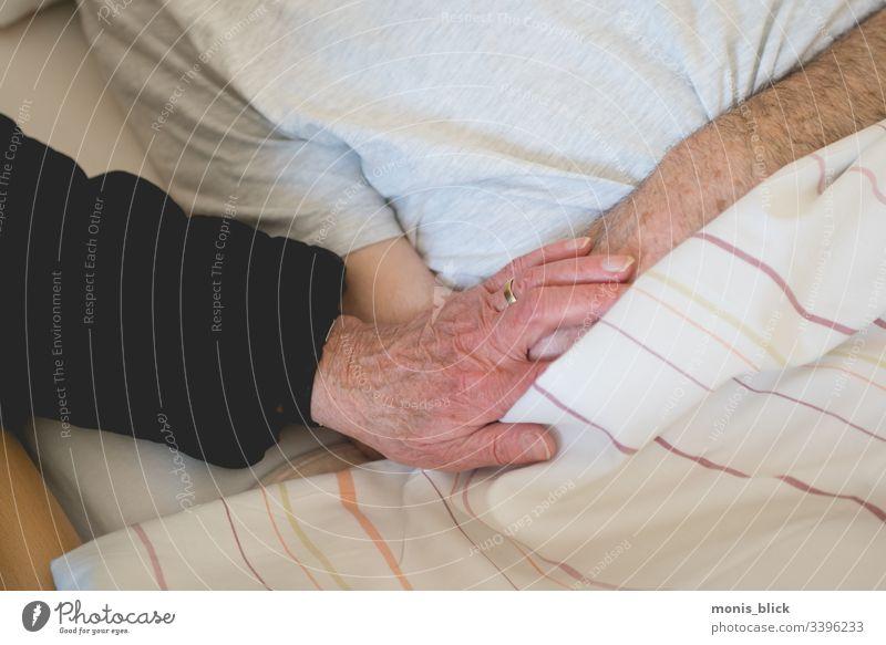 hand care nursing care relatives care of the elderly Hand Considerate Nursing Relatives Care of the elderly Health care Colour photo Healthy Interior shot