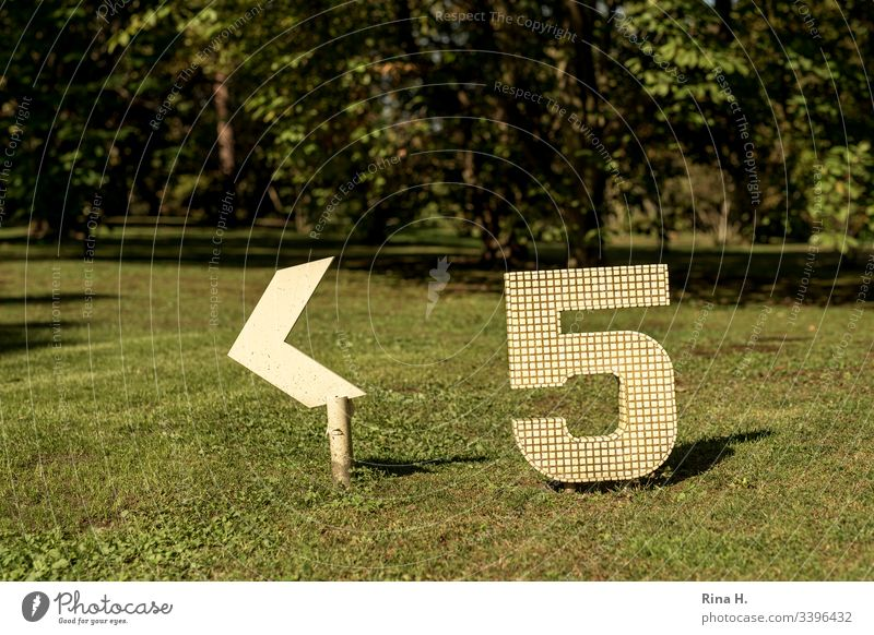 Five ( Signpost) Digits and numbers five Signage Green space Yellow Road marking