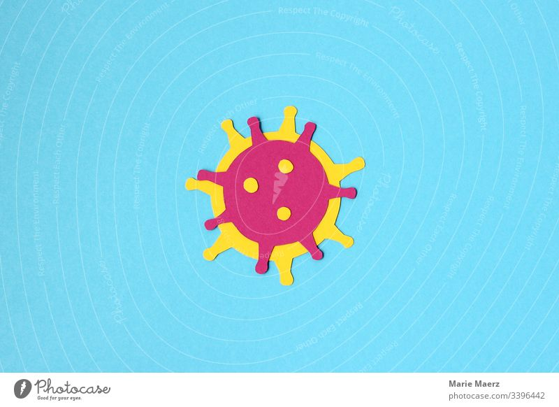 Coronavirus | Illustration of a virus cut out of paper on a light blue background Virus Bacterium Infection flu Settings pathogenic Illness Healthy medicine