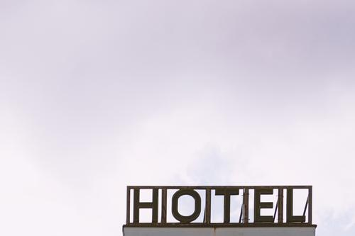HOTEL sign Hotel Typography Vacation & Travel Relaxation Letters (alphabet) Deserted Sky Neon sign Characters Signs and labeling Copy Space top Day Neon light