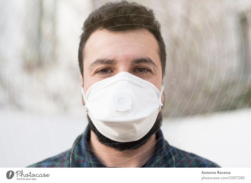 Outdoors man with mask contagion contagious one person disease epidemic face mask illness arab middle eastern mers coronavirus medical mask population protect