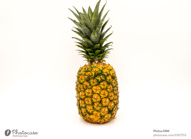 Pineapple, a ripe, fresh, whole fruit ananas background color image cut out descriptive details diet dieting food freshness front front view green grocery