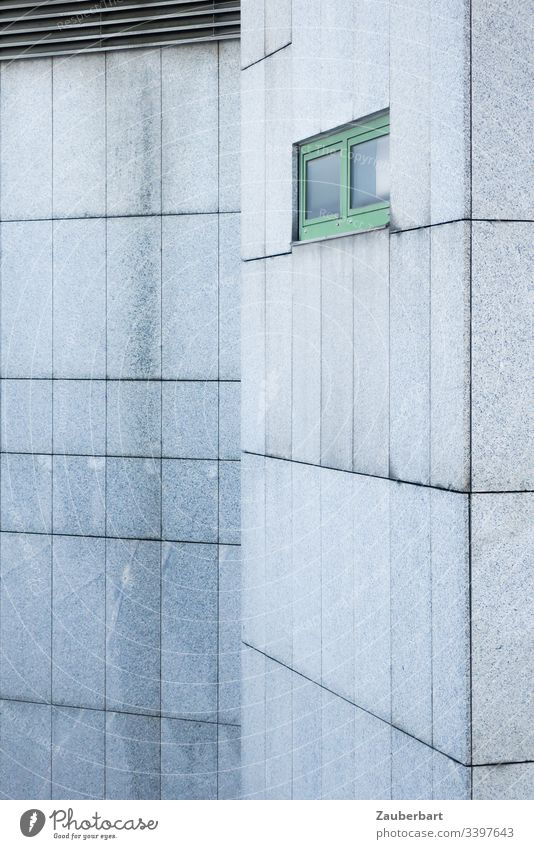 Grey facade made of granite slabs with green window and a variation with lamellas Facade House (Residential Structure) Gray Window Green interstices Pattern