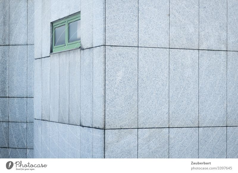 Grey facade of granite slabs with green window in bleak beauty Facade House (Residential Structure) Gray Window Green interstices Pattern Rectangle Gloomy