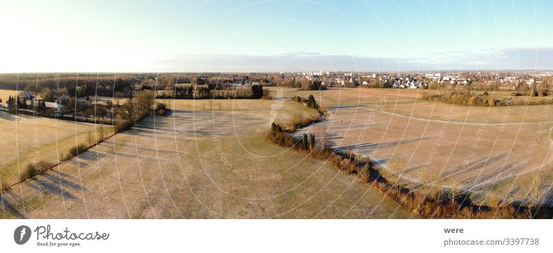 View from above frost-covered meadows Area flight Augsburg Brunnenbach aerial view bird's eye view cold copter copy space creek drone flight forest landscape