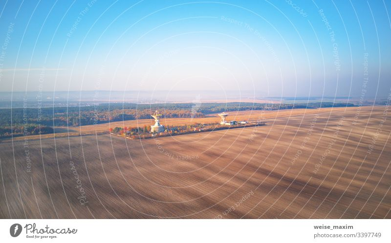 Ukrainian Center of space communication. Aerial view of arable agricultural field radio transmitter center astronomy radar antenna measuring technology