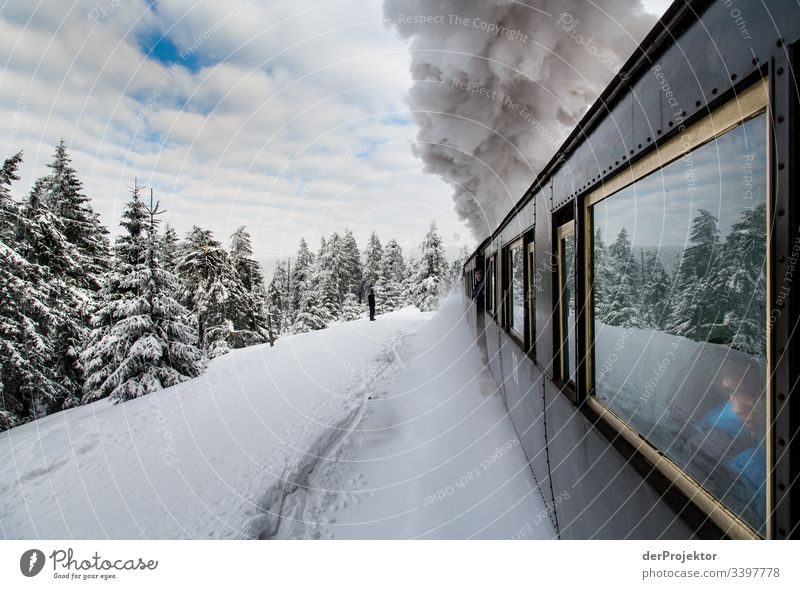 By train through the wintry Harz mountains III Sympathy Copy Space bottom Exterior shot Multicoloured Saxony-Anhalt Colour photo Deserted Copy Space right