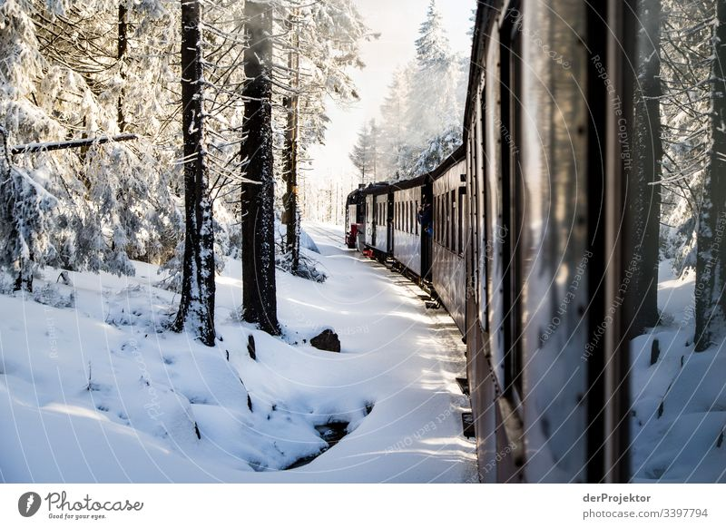 By train through the wintry Harz mountains Sympathy Copy Space bottom Exterior shot Multicoloured Saxony-Anhalt Colour photo Deserted Copy Space right Brocken