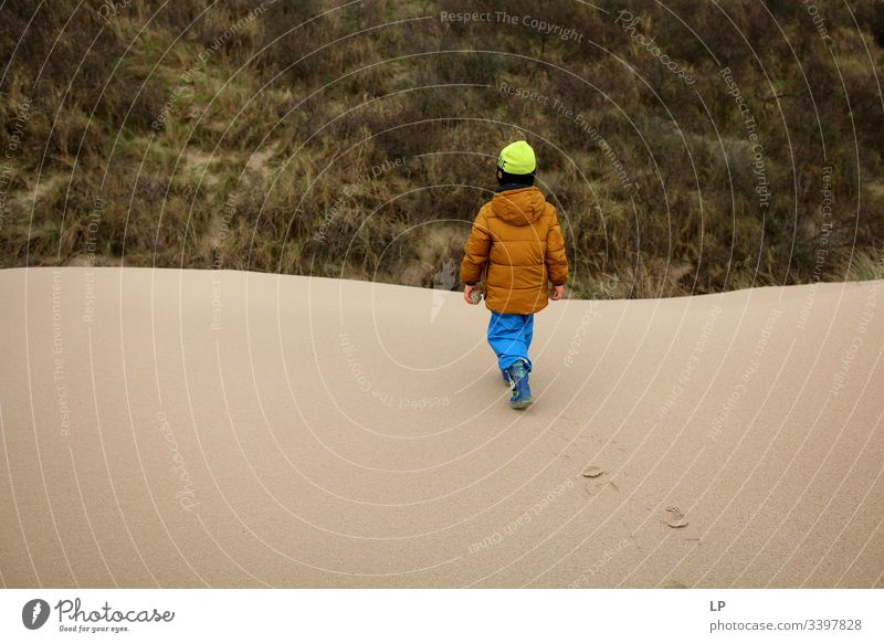 child walking on a sand dune Child Children's game Walking Climbing future picture unknown Lifestyle courage Leisure and hobbies Power Willpower Self-confident
