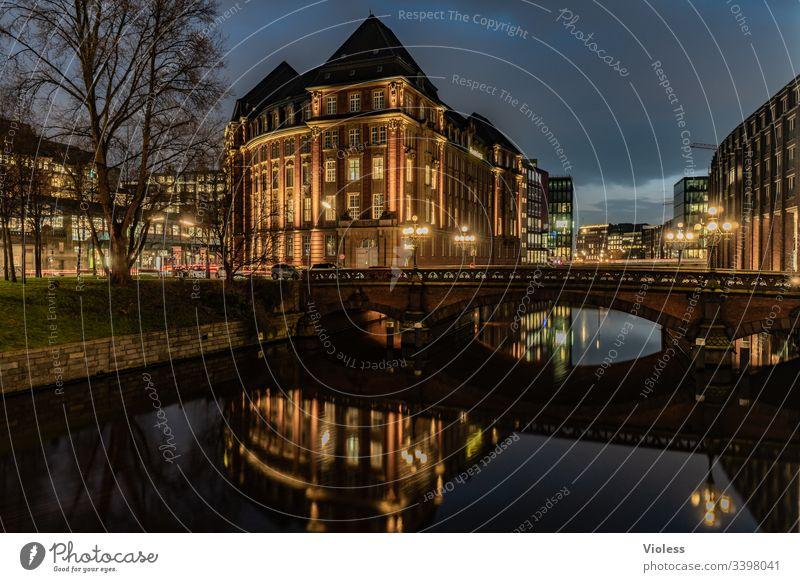 Hamburg, night, lights, long exposure City House Bridge Night clearer Long exposure Office Fleet Dark reflection Architecture