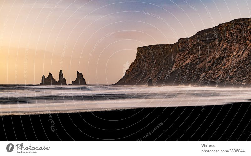 Beach, Reynisfjall, Iceland, sunset, lava, waves, rock needles Sunset Dyrholaey Lava Coast Waves