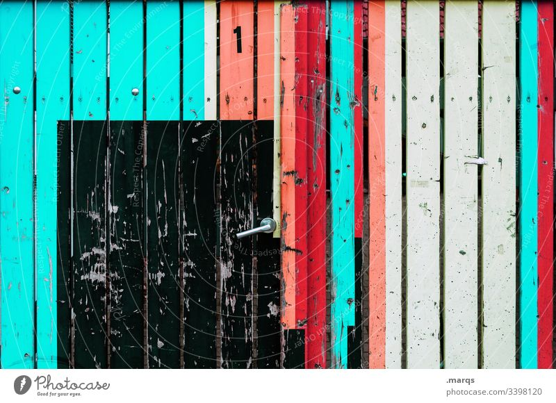 1 Wooden boards Fence door Goal variegated turquoise Red Orange White Black door handle