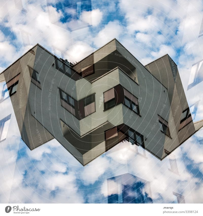 origami House (Residential Structure) Architecture Abstract Double exposure Sky Clouds Symmetry Future Apartment Building dwell Hover