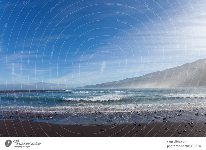 Tenerife Beach Santa Cruz Volcanic Island Vacation & Travel Travel photography Canaries Surf Coast Mountain Waves Nature Europe Tourism Card Idyll Rough