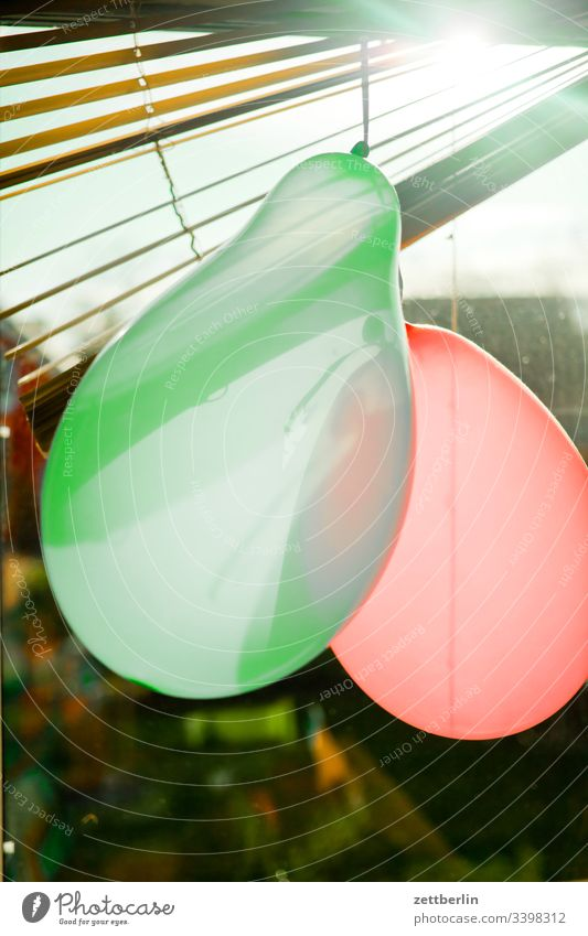 Two balloons in the window Back-light Window Colour photo Entertainment Event Decoration Happiness Carnival Interior shot Joy Multicoloured