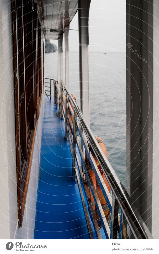 View over a passage of a ship over the railing with rescue tires to the water Ocean Water Railing rescue tyre Blue Wood seafaring Trip Gray foggy Exterior shot