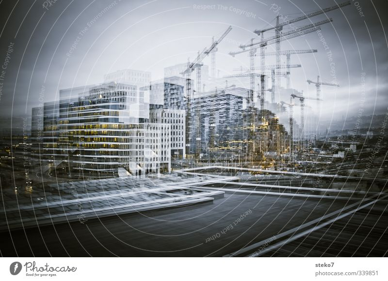 City Gray Modern Construction site Bank building Double exposure Outskirts Office building