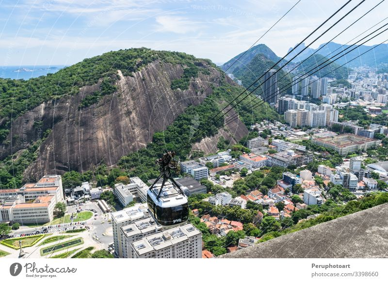 View of the funicular cableway in the viewpoint of Sugar Loaf. botafogo brazil city hill mountain panorama rio travel urca aerial america bay beach brasil