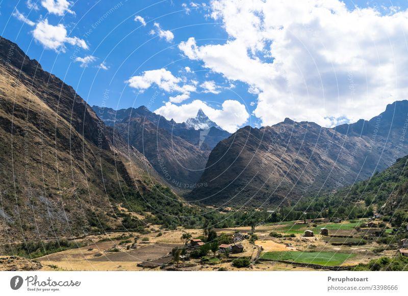 Landscape of Santa Cruz Trek, Huascaran National Park in the Andes of Peru. nature winter trek landscape peruvian mountain destination trekking huaraz hiking