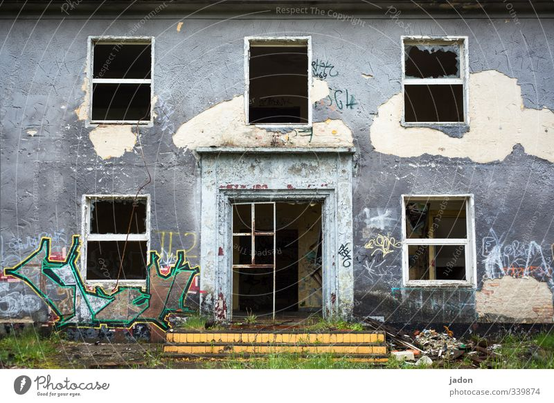 Old House (Residential Structure) Window Graffiti Wall (building) Wall (barrier) Architecture Building Gray Style Garden Flat (apartment) Facade Door Concrete