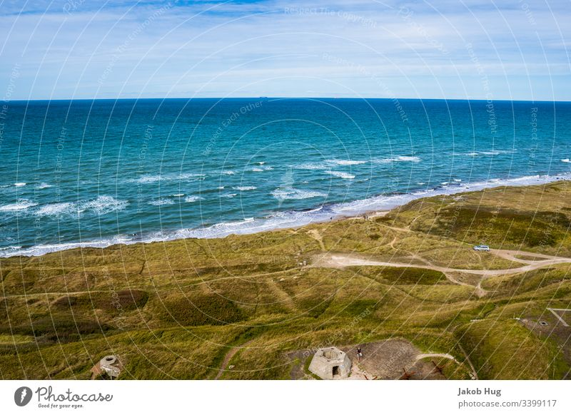 View of the sea at the coast of Denmark Germany North Sea Baltic Sea Atlantic Ocean shepherd's check ocean Water Summer bathe Waves Surf Beach Coast coastline