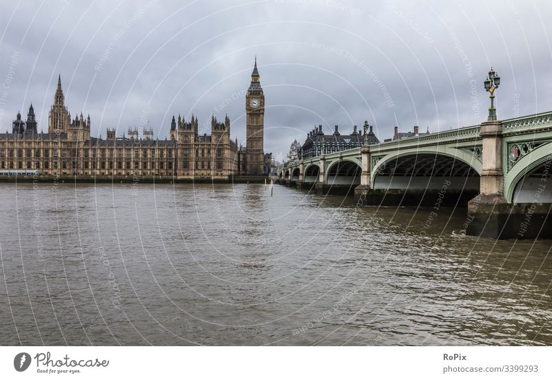 Westminster Bridge in London. England Parliament parliament Clock Bell tower Britain britain Fence Landmark Government big Ben Culture Manmade structures