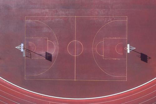 a plain basketball court from above basketball field baskettball court from above lines sport lines basketball lines sport place ash red small basketball court