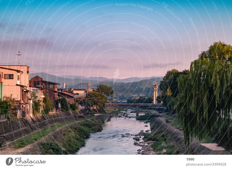 Sunrise over the riverbed Riverbed riverbank Japan sunrise sky sunrise landscape Takayama