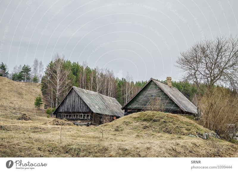 Old Wooden Houses abode agrestic architectural architecture bare tree construction country countryside dwelling dwellings exterior hamlet home house khutor