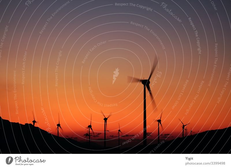 Silhouettes of Wind Turbines at Twilight alternative electric electricity energy environment environmental farm generation generator industrial industry