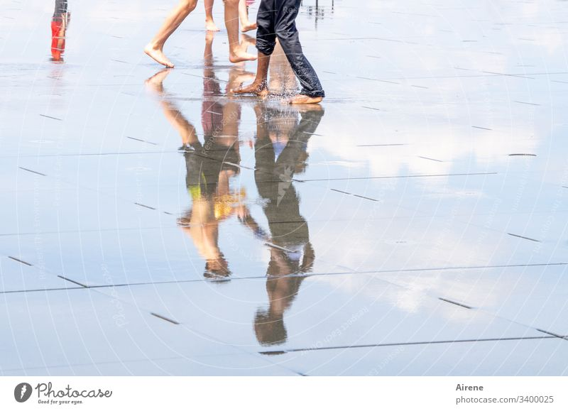 encounter Reflection Contrast Day Neutral Background Copy Space right Exterior shot Colour photo Barefoot Going Beautiful weather Summer Water Legs Human being