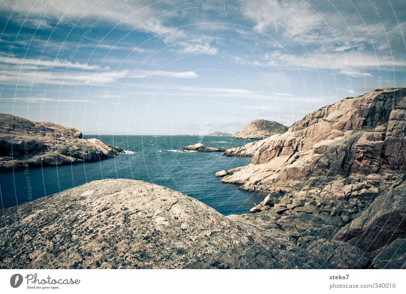 Sky Blue Water Ocean Loneliness Relaxation Calm Far-off places Coast Rock Beautiful weather Fresh Bay Norway