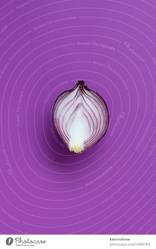 Purple onion on a purple background top view above red sliced half food healthy raw organic vegetable ingredient vegetarian ripe vitamin natural harvest fresh