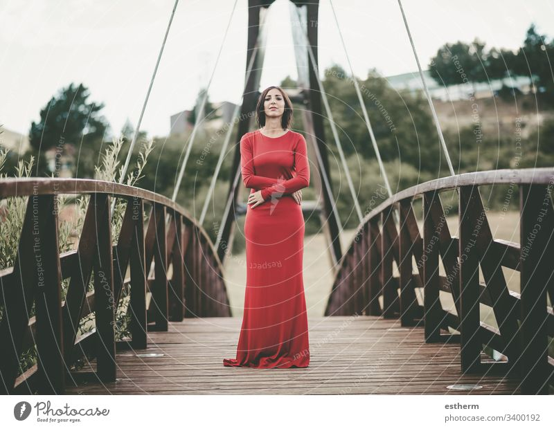 elegant young Woman on Bridge Young Woman beautiful bridge woman distinguished dream dreaming dreams fashion free holidays independence joy lifestyle