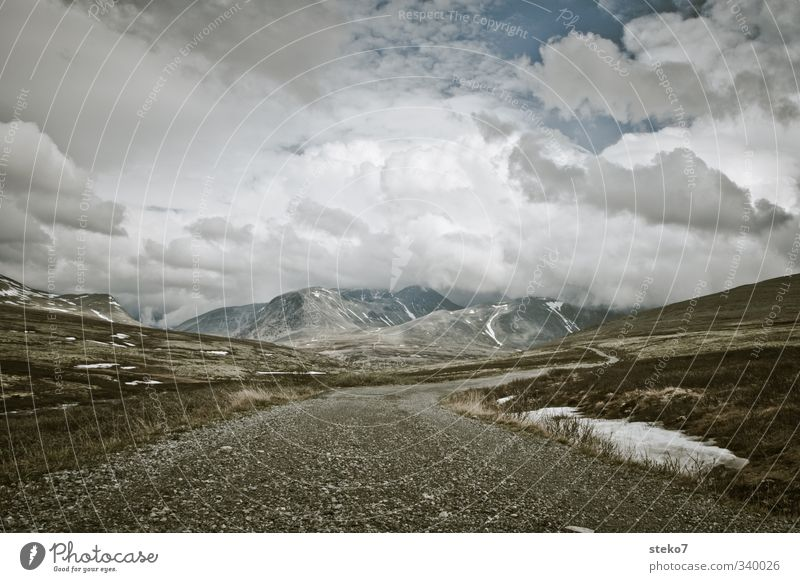 Norway Clouds Mountain Lanes & trails Infinity Loneliness Expectation Far-off places Rondane Subdued colour Exterior shot Deserted Copy Space top