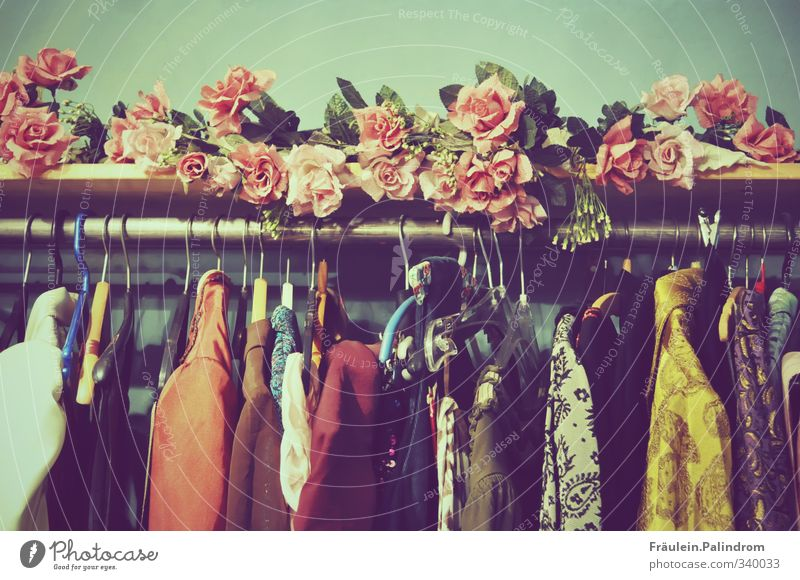 Hangers with clothes hang from a pole decorated with roses Shopping Decoration Fashion Clothing T-shirt Shirt Suit Jacket Coat Accessory Retro pretty