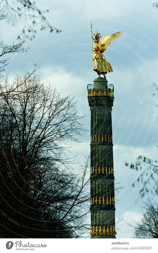 Victory column from Fasanerieallee on the outside Tree Berlin leaf gold Charlottenburg Monument Germany else Figure spring Spring Gold Goldelse victory statue