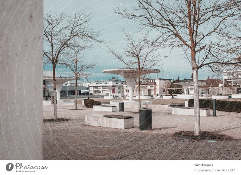 bright architecture in Darmstadt urban Architecture Theater square Modern Bright Places Bench trees Future Bleak Winter Cold Empty Free