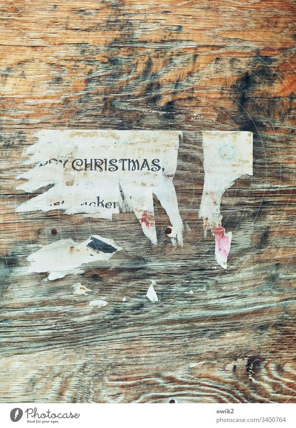 after the party Wood Wall (building) Paper Scrap remnants Poster Remains Invitation christmas party Denglish hip Cool Wood grain Ravages of time