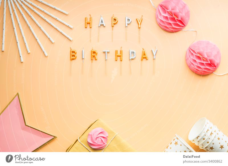 party celebration happy birthday frame advertising anniversary background banner brown background candles card carnival celebrate color confetti copy space