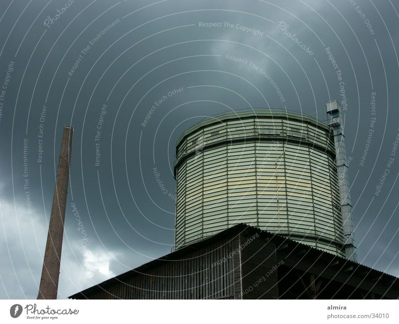 gasometer The Ruhr Gale Clouds Site Future Industry Gastronomy Thunder and lightning Sky Sadness