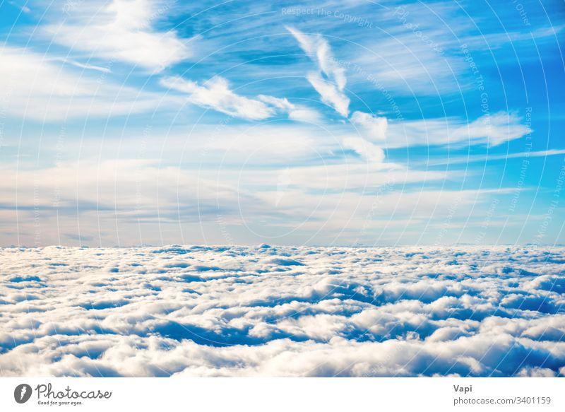Aerial view of blue sky with layers of white clouds aerial nature cloudscape cumulus cirrus fluffy stratus beautiful high beauty above heaven weather natural